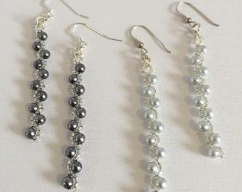 Delicate Pearl Earrings, Dark Grey Earrings, Light Grey Earrings, Beadwoven Earring Jewelry, Petite Pearl Drop Earrings, Bridal Gift