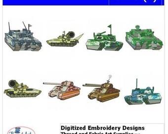 Embroidery Design CD - Tanks(1) - 8 Designs - 9 Formats - Threadart
