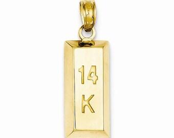 "3-D ""14k"" Bar Pendant (JC-1097)"