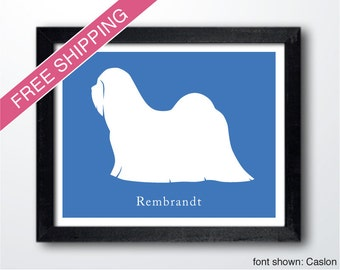 Personalized Lhasa Apso Silhouette Print with Custom Name