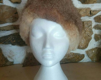 Vintage Beige Oposum Hat by Kate's Boutique Canada Fur Winter Hat 1960s Fashion