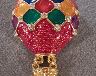 Vintage Gold Tone Rhinestone Bright Colorful Hot Air Balloon Brooch~~ **RL