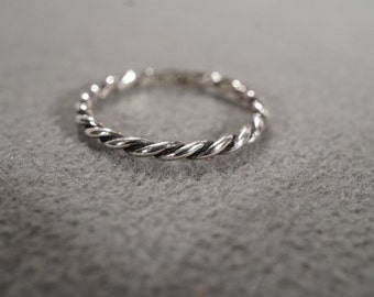 Vintage Jewelry Sterling Silver Rope Design Eternity Style Wedding Band Ring, Size 8    KW252