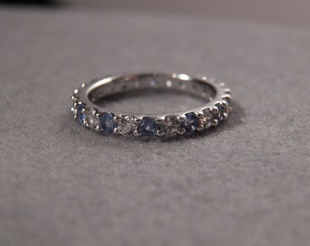 Vintage Sterling Silver White Blue Round Cubic Zirconia Fancy Eternity Band Ring, Size 6      **RL