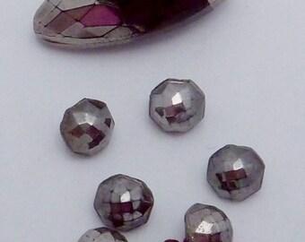 Vintage Art Deco Set of 7 Silver Painted Black Glass Buttons 22003