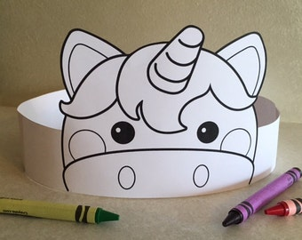 Unicorn Paper Crown COLOR YOUR OWN - Printable