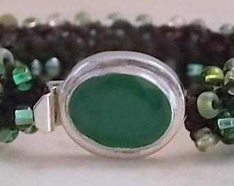 Hand knitted beaded bracelet