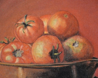 Still Life Painting, Tomato Painting, Original Oil Painting