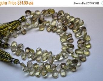 """35%Dis AAA-8"""" Strand-10mm Natural Bio Color Lemon Quartz Faceted Pear Shape Briolette Beads"""