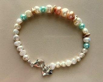 Freshwater Pearl Bracelet-Pastel Colors - Single Strand