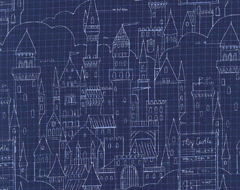 One Yard - 1 Yard of Castle Plans Navy -MAGIC by Sarah Jane - Michael Miller Fabrics