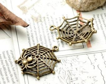 DIY 15 pcs antique bronze spider's web charm pendant 36x32mm