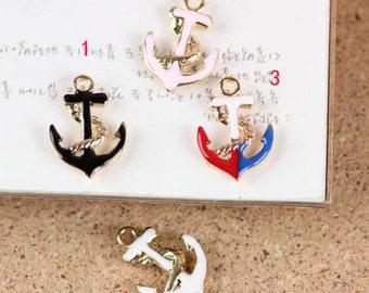 10 pcs of antique gold color anchor drop oil charm pendants 12x17mm