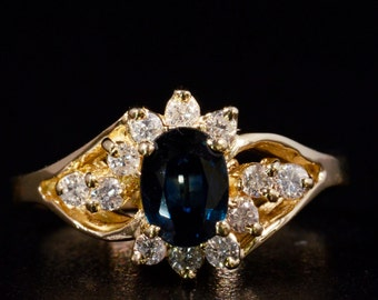 Solid 14K Yellow Gold Genuine Diamond / Natural Sapphire Ring - Size 6