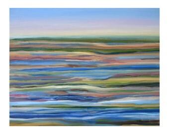 Salt Marsh Sunrise, 8x10 inch print from impressionist oil painting by Pamela Parsons, Plum Island, Newburyport, Massachusetts, Cape Ann
