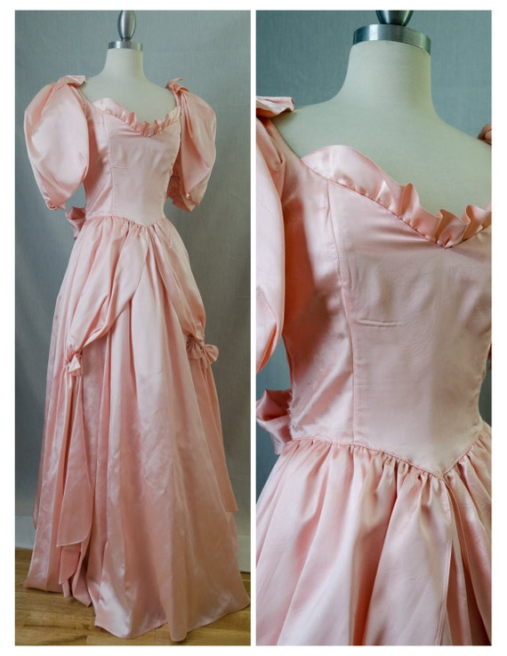 80s Gunne Sax by Jessica McClintock Pink Prom Gown with Puff Sleeves and Tie Back Bow Appx Size Extra Small (1980s)