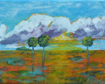 Original Small Acrylic Painting on Canvas. Landscape Painting. Daily painting. Abstract Art. Contemporary Fine Art