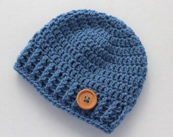 Crochet baby hat, baby boy hat, blue, boy winter hat, infant hat, crochet beanie, baby beanie - MADE TO ORDER