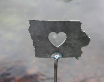 Iowa State Heart Garden Art Stake