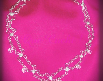 Medieval Necklace with chains and crystal beads of rock and Opaline