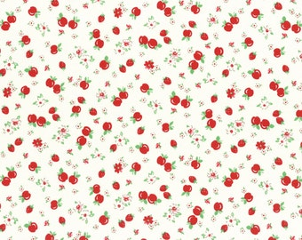 Retro 30's Child Smile White/Red Strawberries & Apples Yardage, SKU# 31282L-30 - Licien, japan