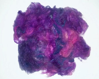 Violet Purple  Pulled Silk Fiber -Silk Cloud roving for spinning or felting - silk waste lilac lavender blue bright threads yarn papermaking