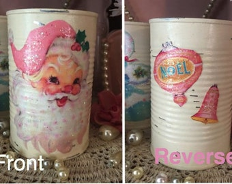 Ivory Christmas Shabby Chic Painted Can Vase Decoupage Pink Vintage Retro Santa Claus Noel Bells Glitter Table Decor Centerpiece Decorations