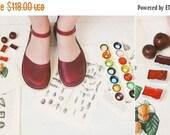 SALE 20% OFF: Marsala Leather Sandals, Merry Jane Sandals, Handmade Sandals In Marsala Color, Women Sandals, Summer Sandals
