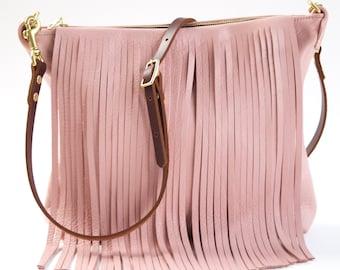 Pink Leather Fringe Crossbody Bag