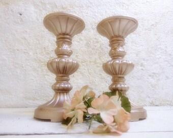 2 Pillar Candle Holders/Wedding Candle Holders/Candle Sticks/Pillar Candle Holders Rose Gold