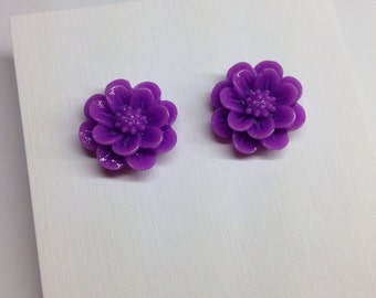 Purple Resin Flower Studs Surgical Stainless Steel