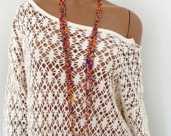 1970s Hippie Beaded Necklace Multi Strand Multi Colored Psychedelic Seed Bead Strands