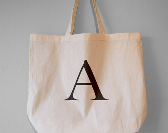 Monogram Tote, Alphabet Bag, Choose Your Letter - Natural Cotton Tote Bag/Maxi Bag/Canvas Tote Bag