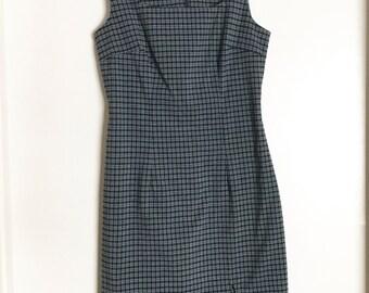 Vtg 90s blue green plaid schoolgirl dress