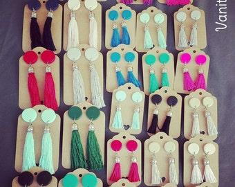 Earrings with black tassel
