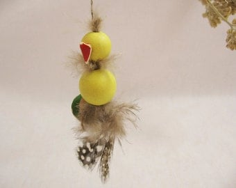 Vintage Bird Ornament with Real Feathers