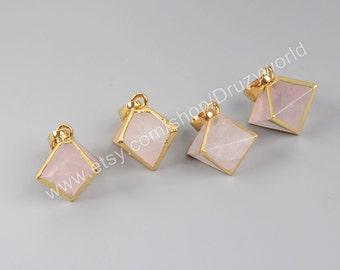 1Pcs Small Gold Plated Pyramid Point Natural Rose Quartz Stone Faceted Pendant Bead Handmade Gemstone DIY Quartz Jewelry G1004-Rose Quartz