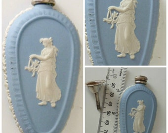 Wedgwood Athena Blue Jasper Ware Perfume Scent Bottle Flask Silver Top & Funnel