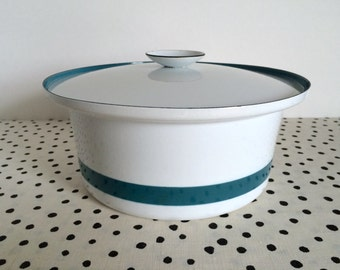 SALE // Vintage Cathrineholm Ribbon Casserole, Catherineholm Striped Casserole, Teal Cathrineholm Pot, Dutch Oven, Cathrineholm Enamelware
