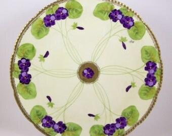 "Hand Painted Charger 13"" Plate Signed Kohl Purple Flowers Vintage Beyer & Bock"
