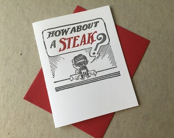 "Letterpress ""How about a steak?"" card (#MIS028)"
