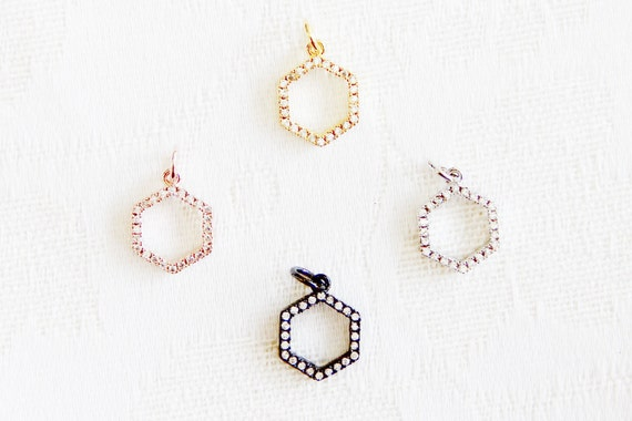 CZ Micro Pave 12mm Octagon  Charm with Jump Ring