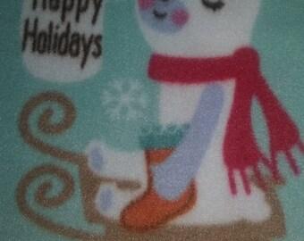 Happy Holidays Fleece ~ Dog Fleece Blanket ~ Christmas Fleece