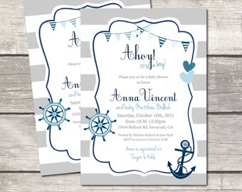 Nautical baby shower invitation, anchor navy blue, gray stripes, printable digital files