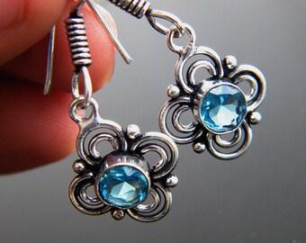 """Blue Topaz Earrings, 1.4""""  Dangle Earrings, Silver Plated Topaz Jewelry, Gift for Women  SH-565"""