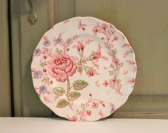 Vintage Rose Chintz Sandwich Plate Johnson Brothers Made in England Ironstone Collectible China English Cottage Country Dish Home Decor
