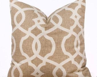 "SALE ENDS SOON Wheat Brown Lattice Throw Pillow, Decorative Cushion, Affordable Home Decor, 22 x 22"""