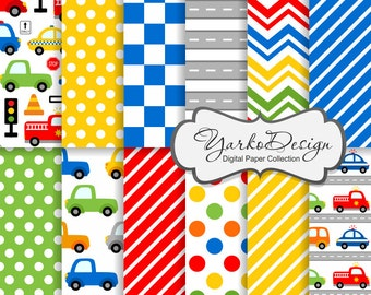 Cars Digital Paper, Cars Pattern, Vehicle Background, Transportation, Illustration, Fire Truck, Police, Taxi - Instant Download - YDP009
