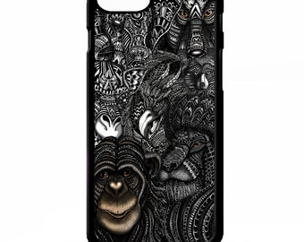 Zoo animal lion monkey elephant giraffe wolf african aztec cover for Samsung Galaxy S5 S6 s7 edge plus note 4 5 Sony xperia Z2 Z3 phone case