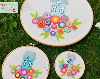 Embroidery Hoop Set of 3 - Floral Home Hoop Art
